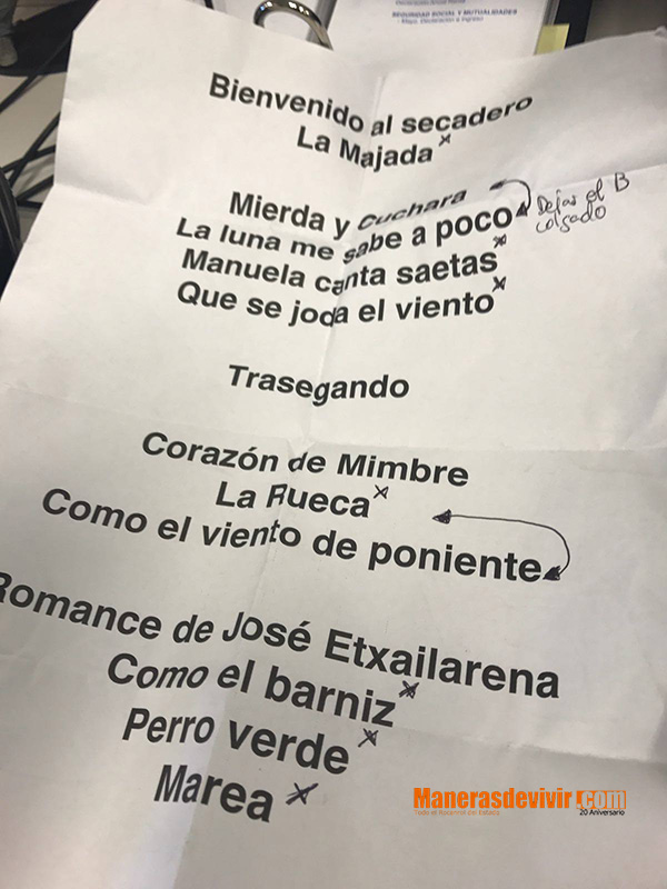 Lista de canciones del concierto de Marea en Berriozar
