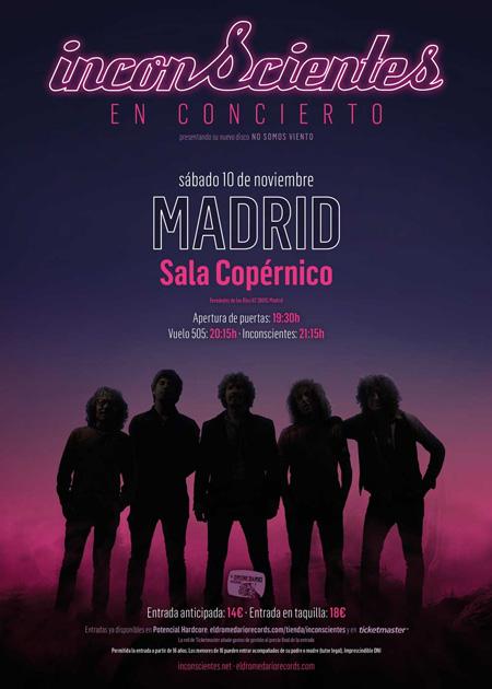 Cartel concierto Inconscientes en Madrid