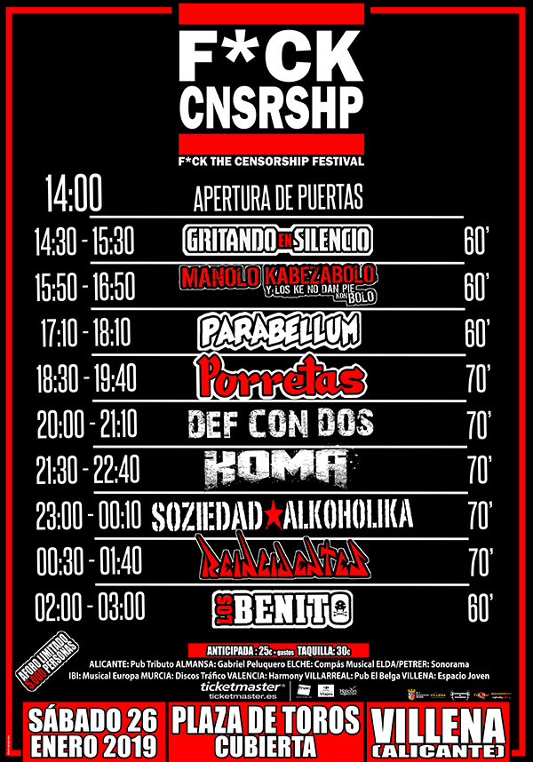 Horarios festival F*ck the Censorship 2019