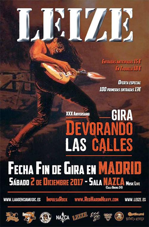 Cartel concierto fin de gira de Leize en Madrid