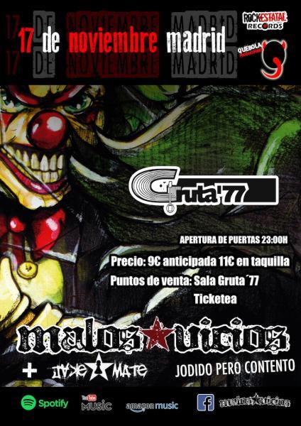 Entradas concierto Malos Vicios en Gruta 77 Madrid