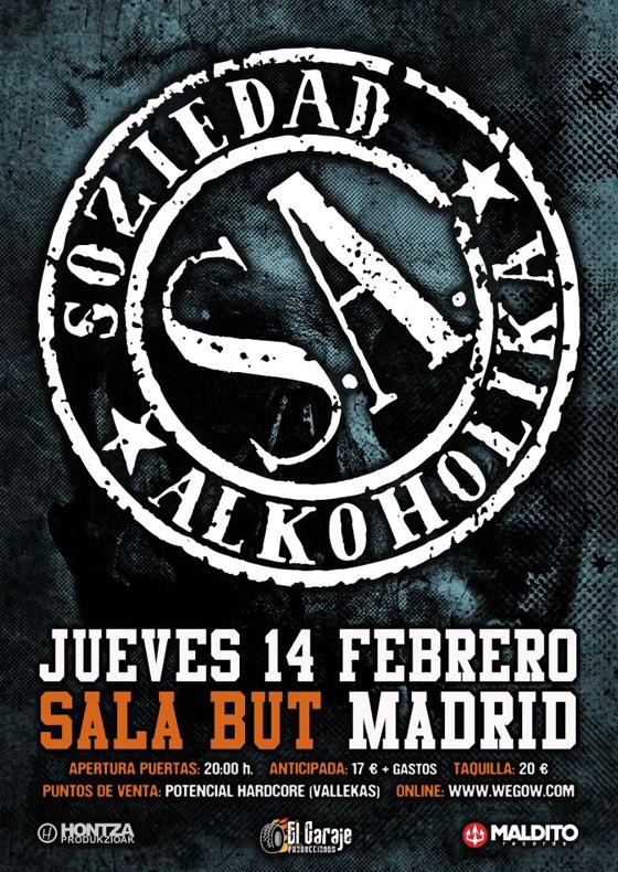 Entradas para el concierto de S.A. en la sala But de Madrid