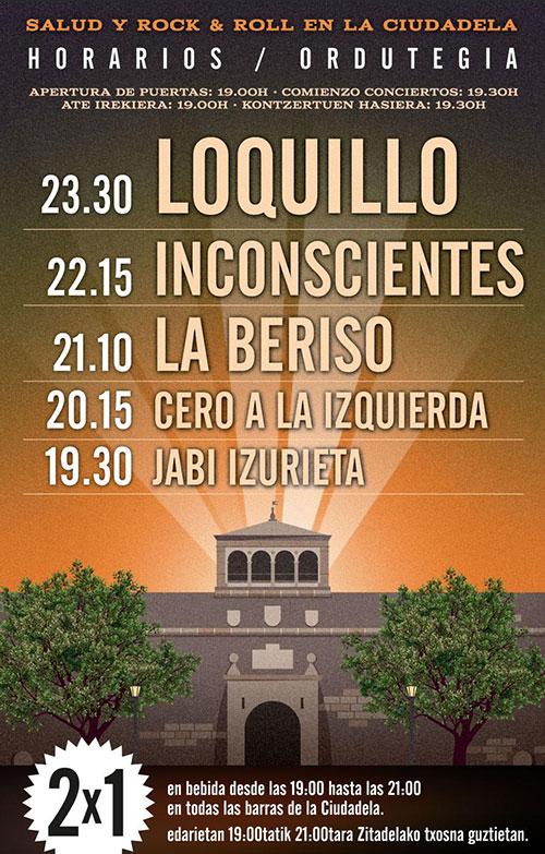 Horarios del Salud y Rock and Roll de la Ciudadela de Pamplona